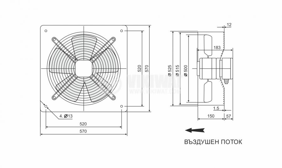Fan, industrial, axial Ф500mm, 8850m3 / h, 420W, FDA-4E-500B, 220VAC - 2
