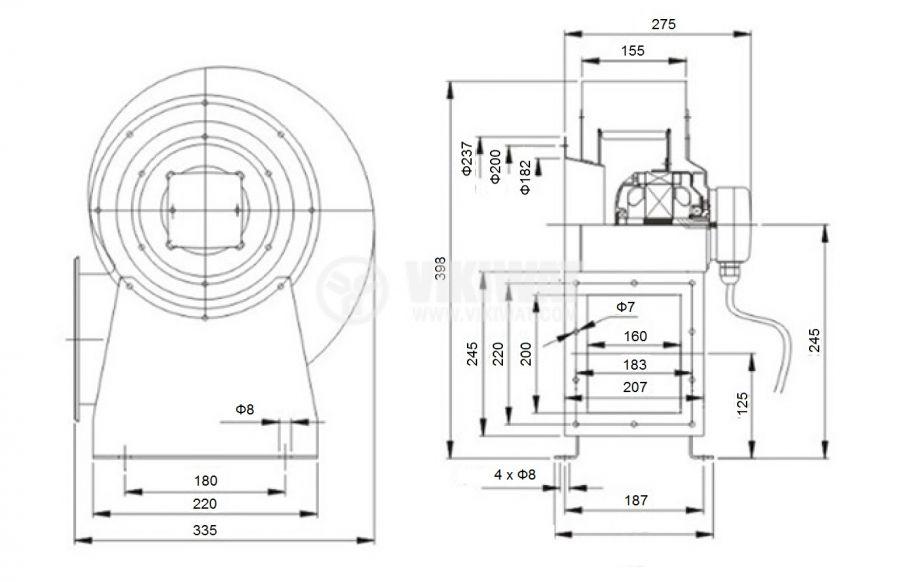 Вентилатор, промишлен, центробежен, V-200QD, 220VAC, 330W, 1500m3/h - 2