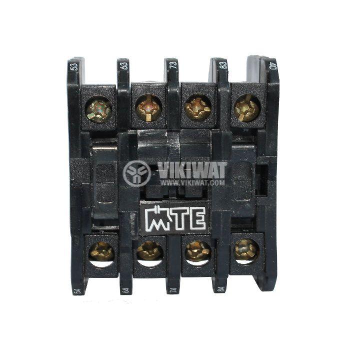 Контактор, четириполюсен, бобина 220VAC, 4PST - 4NO, 16A, МТЕ, 4NO - 2