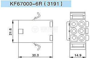 Конектор за обемен монтаж женски, VF67000-2R, 2 пина - 2