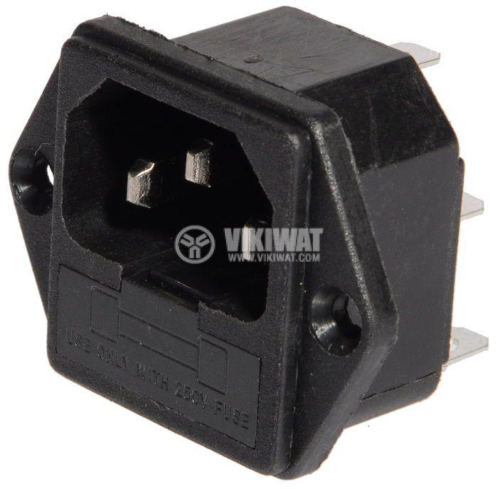 Захранващ конектор АC, C14(E), 250VAC, 10A - 1
