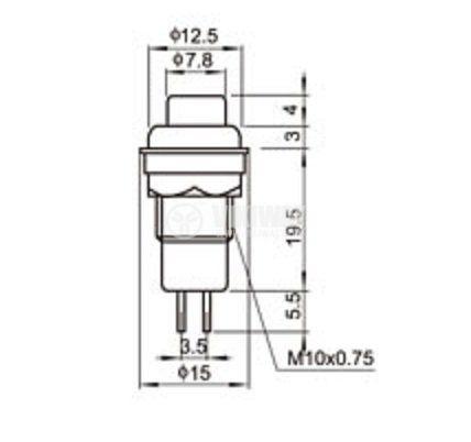 Бутон, CY01K1-R, NO, 2A / 230VAC, задържащ, червен - 2