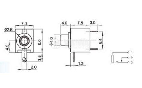 Конектор, PJ-201M, 2.5mm, моно, F - 2