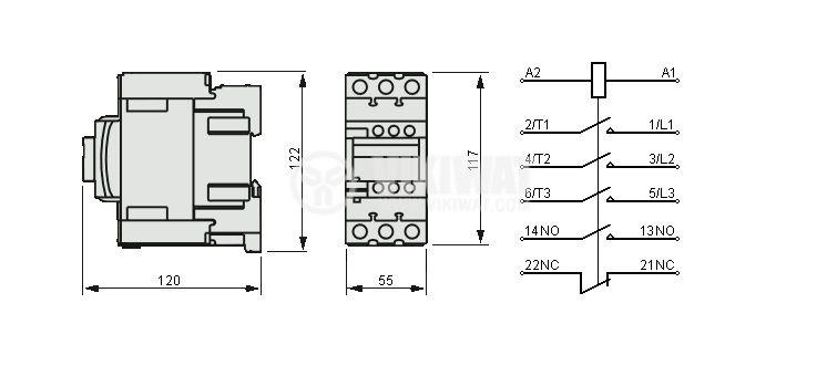 Контактор, трифазен, бобина 220VAC, 3PST - 3NO, 40A, LC1D40AM7, NO+NC - 2
