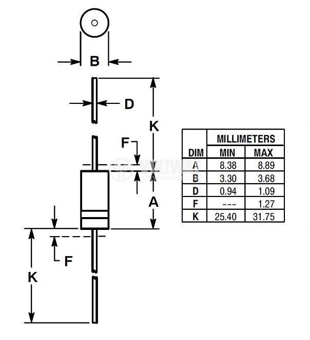 Диод ценеров 1N5346BRLG, 9.1V, 5W - 2