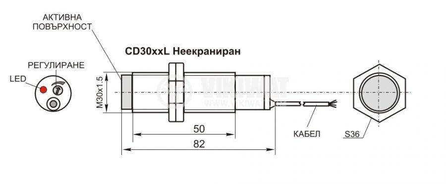 Capacitive Sensor, LJC30A3-HZ, M30x80mm, 6-36 VDC, NPN, NO + NC, range 25mm, non-shielded - 4