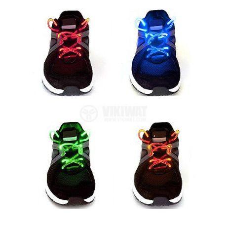 Светещи LED връзки за обувки, различни цветове