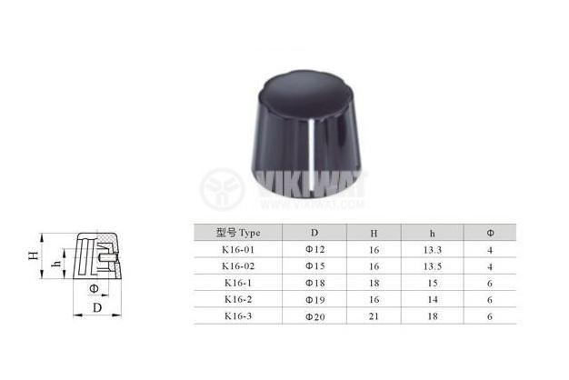 Копче за потенциометър K16-3 20x21 с индикатор - 4
