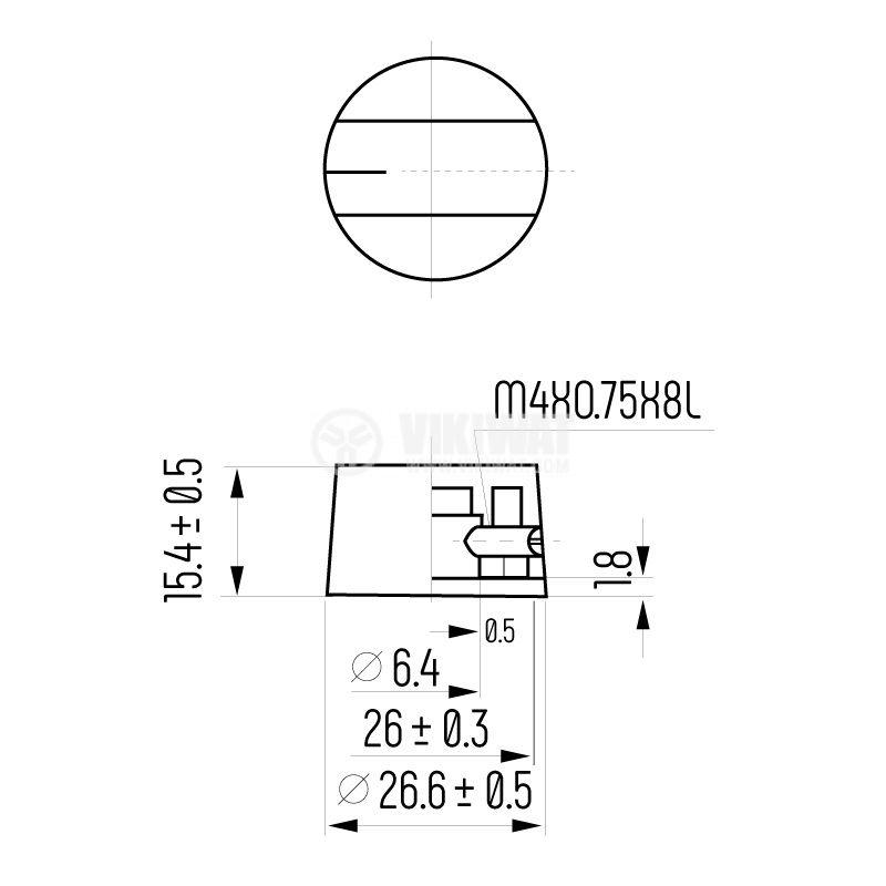 Potentiometer knob K7-1 26.6х12.5 with indicator - 4