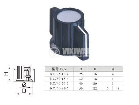 Копче за потенциометър ф32mm, h=18mm с индикатор KCJ32-18 - 4