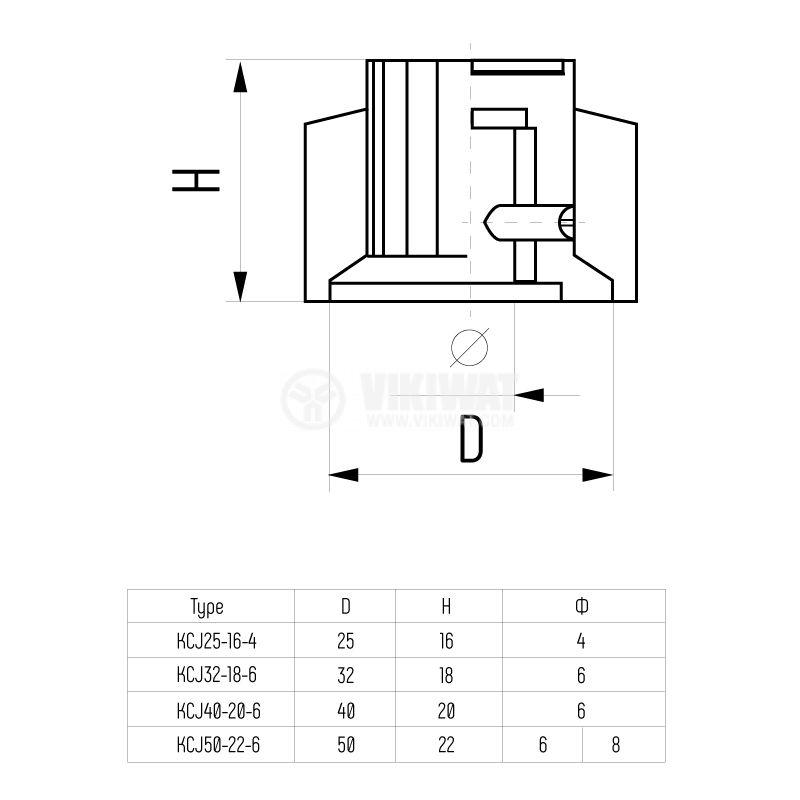 Копче за потенциометър ф32mm, h=18mm с индикатор KCJ32-18 - 5