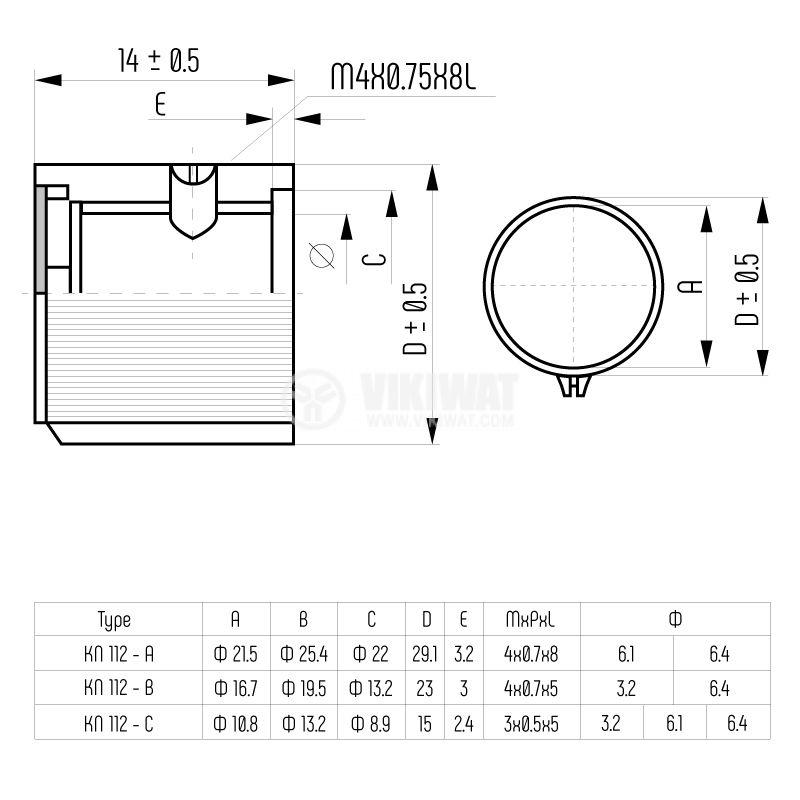 Копче за потенциометър Ф19.5х14 mm с индикатор KN-112-B - 5