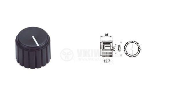 Копче за потенциометър KN20-A 20х15 с индикатор - 4