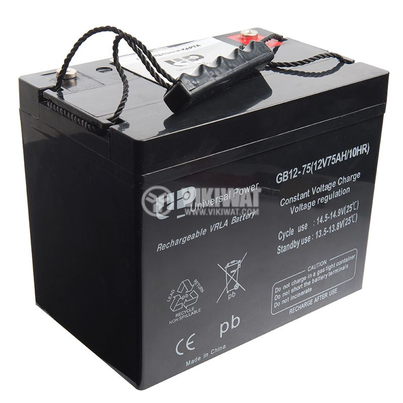 Battery, 12VDC, 75Ah, rechargeable, constant voltage, encapsulated - 2