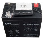 Battery, 12VDC, 75Ah, rechargeable, constant voltage, encapsulated