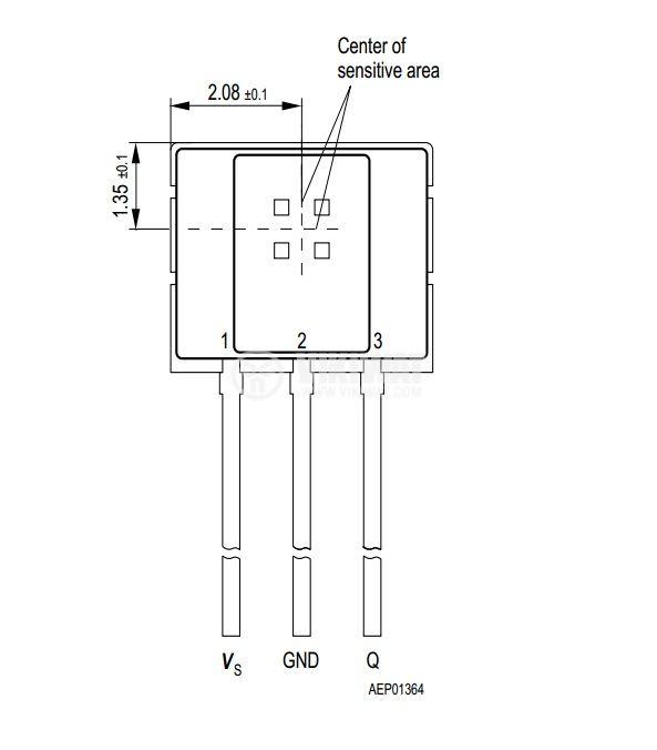 Датчик на Хол, TLE4935L PG-SSO-3-2, 3.8-32 VDC, 100 mA, 3 pins - 2