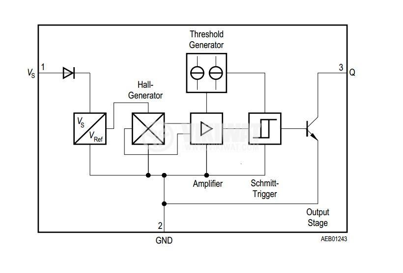Датчик на Хол, TLE4935L PG-SSO-3-2, 3.8-32 VDC, 100 mA, 3 pins - 3