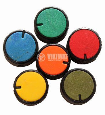 Копче за потенциометър Ф26х15 mm с индикатор цилиндрично оранжев цвят