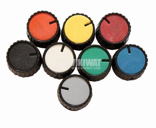 Копче за потенциометър Ф26х17 mm с индикатор конусно оранжев цвят