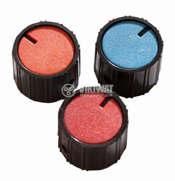 Копче за потенциометър Ф26х18.5 mm с индикатор конусно червен цвят