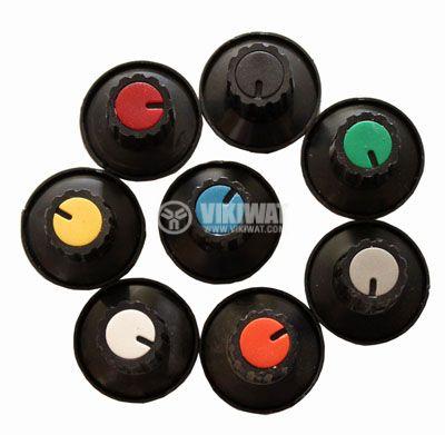 Копче за потенциометър Ф28х19 mm с фланец и индикатор конусно зелен цвят