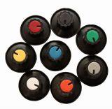 Копче за потенциометър Ф28х19 mm с фланец и индикатор конусно черен цвят
