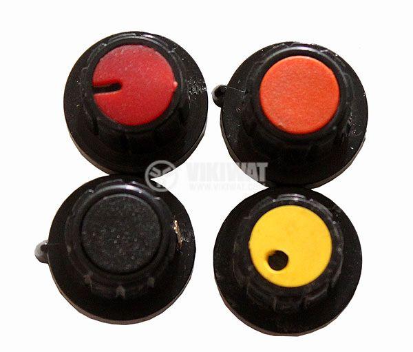 Копче за потенциометър Ф20х19 mm с фланец с индикатор оранжев цвят