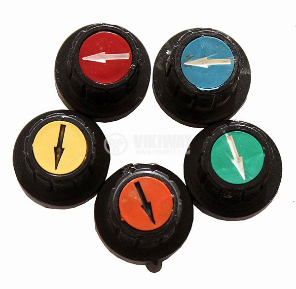 Копче за потенциометър Ф20х19 mm с фланец и индикатор син цвят