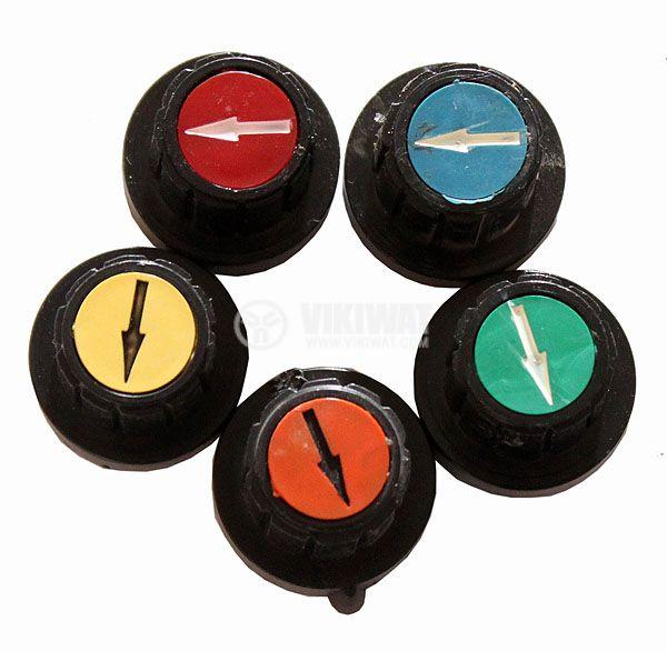 Копче за потенциометър Ф20х19 mm с фланец и индикатор зелен цвят