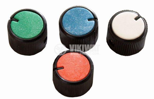Копче за потенциометър Ф21х15 mm с индикатор син цвят