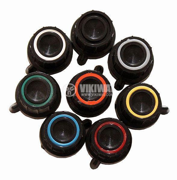 Копче за потенциометър Ф18х18 mm с фланец и репер с жълт ринг