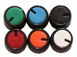 Копче за потенциометър Ф15х15mm, с индикатор, зелен цвят