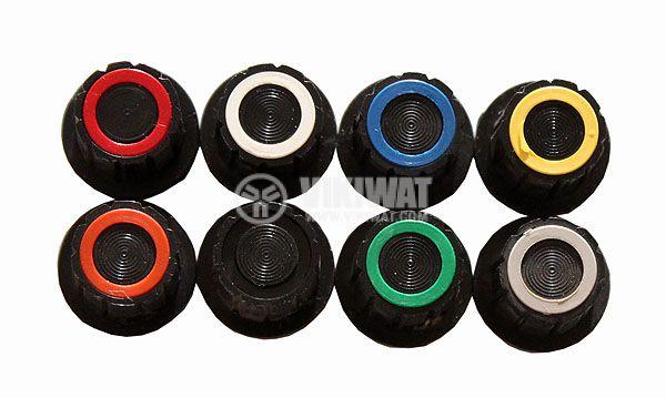 Копче за потенциометър Ф17х14 mm с фланец със зелен ринг