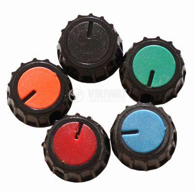 Копче за потенциометър Ф20х17 mm с индикатор син цвят