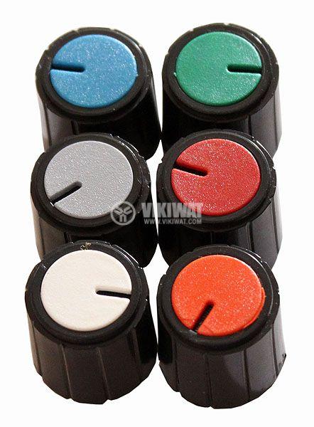 Копче за потенциометър Ф18х18 mm с индикатор зелен цвят