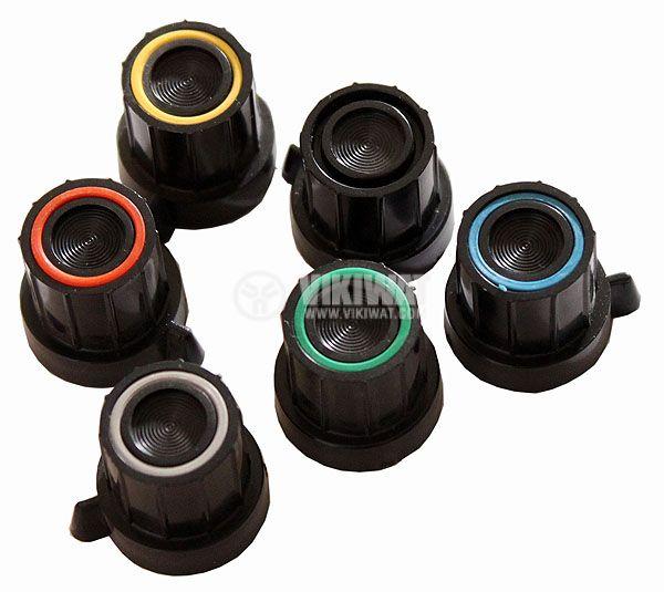 Копче за потенциометър Ф18х18 mm с фланец и репер черен цвят
