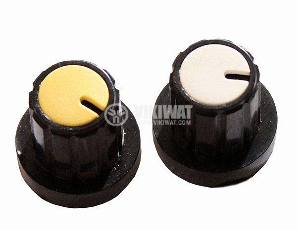 Копче за потенциометър Ф20х19 mm с фланец и индикатор жълт цвят