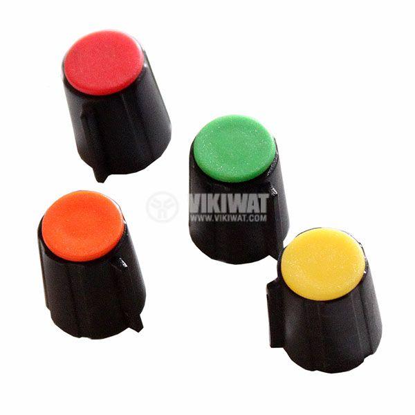 Копче за потенциометър Ф12х16 mm с репер жълт цвят