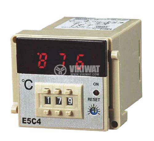 Temperature regulator, E5C4, 220 VAC, 0° C to 999 °C, thermocouple type K, with relay output - 2