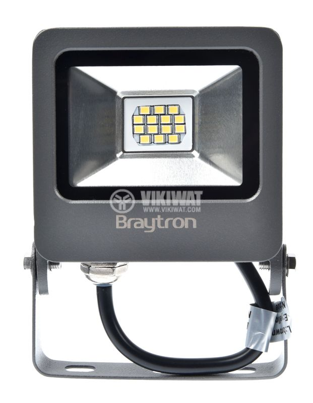 LED floodlight 10W, 220VAC, 800lm, 3000K, warm white, IP65, waterproof, SLIM, BТ62-01002 - 1