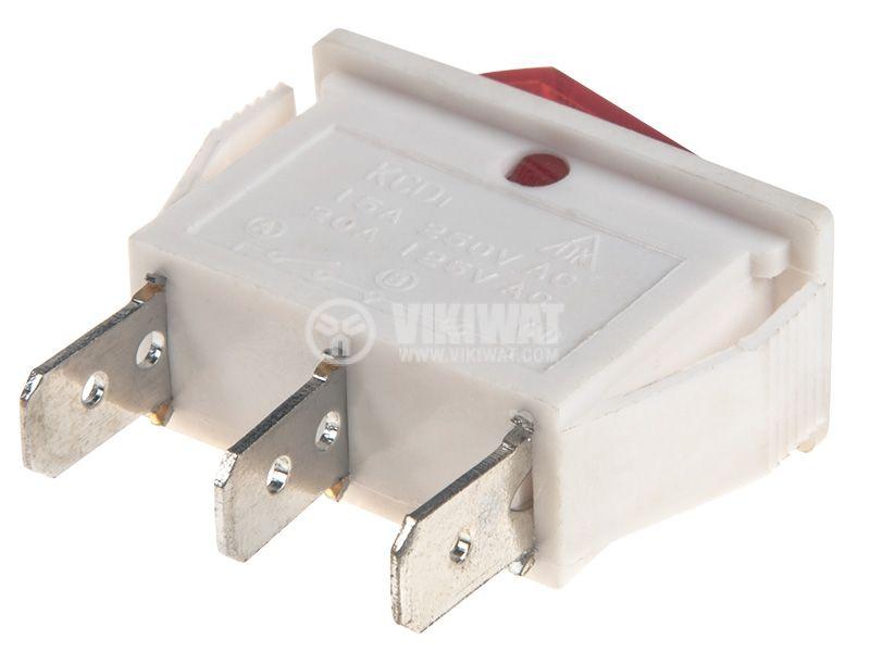 Rocker Switch, 2-position, OFF-ON, 15A/250VAC, hole size 26х11mm - 3