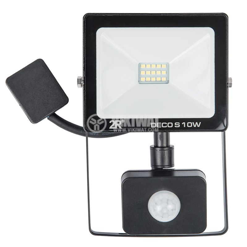 LED floodlight with sensor 10W, 220VAC, 1000lm, 6000K, cool white, IP65, waterproof - 1