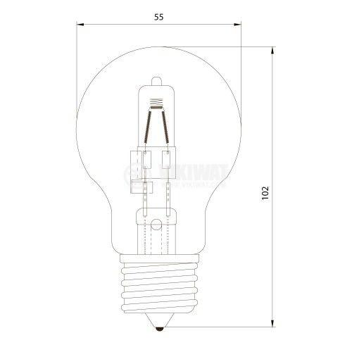 Халогенна лампа 220 VAC, 52 W, A55, E27 - 2