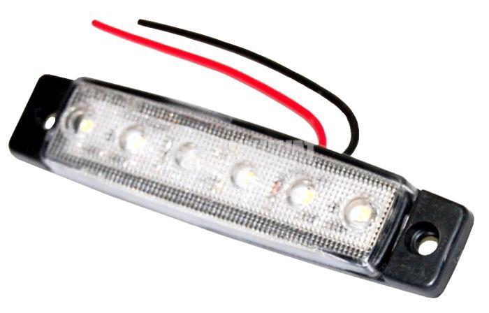 Авто габарит, бял с 6 бр. LED диоди, 24 V