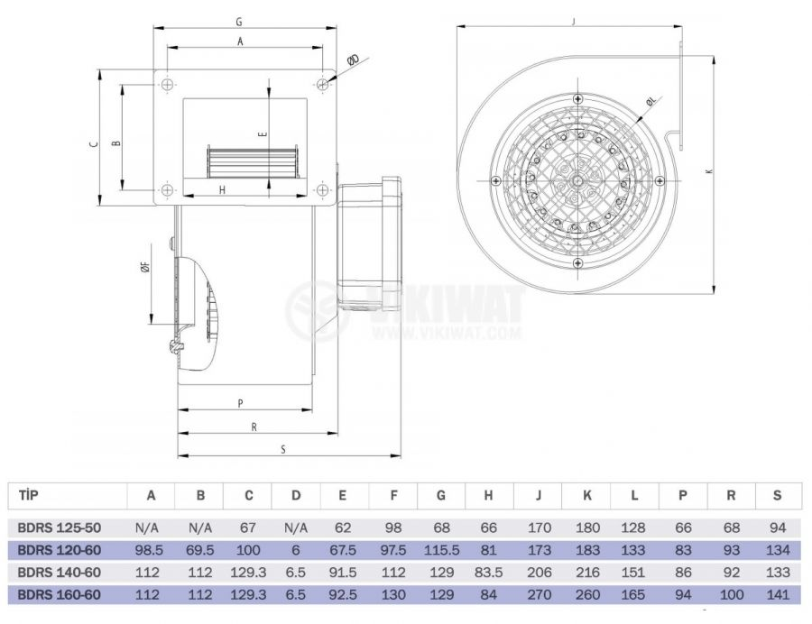 """Вентилатор, промишлен, BDRS 125-50, 220VAC, 85W, 250m3/h, тип """"охлюв"""" - 5"""