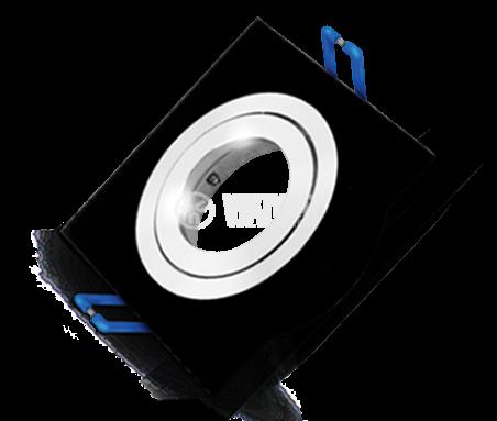 Арматура за вграждане за халогенни и LED луни, черна, сребърна, GU5.3, BN12-0116 - 1