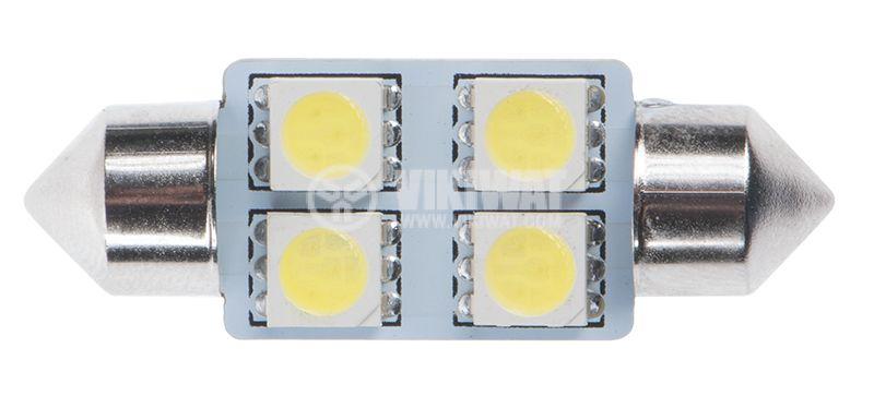 Автомобилна LED лампа, софитна, 12 VDC, 4LED, 36mm, - 1
