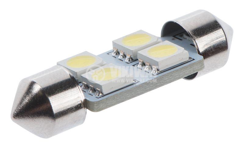 Автомобилна LED лампа, софитна, 12 VDC, 4LED, 36mm,  - 2