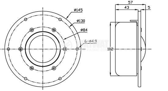 Broadband speaker DMB-A, 80W, 5 ohm, f145x57 mm - 6