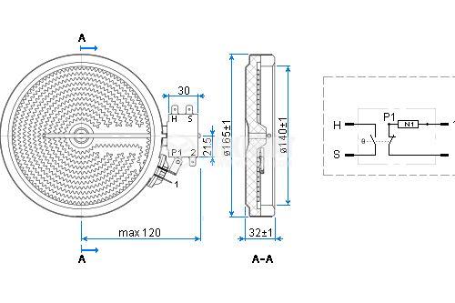 Керамична нагревателна плоча Ф165 mm - 3